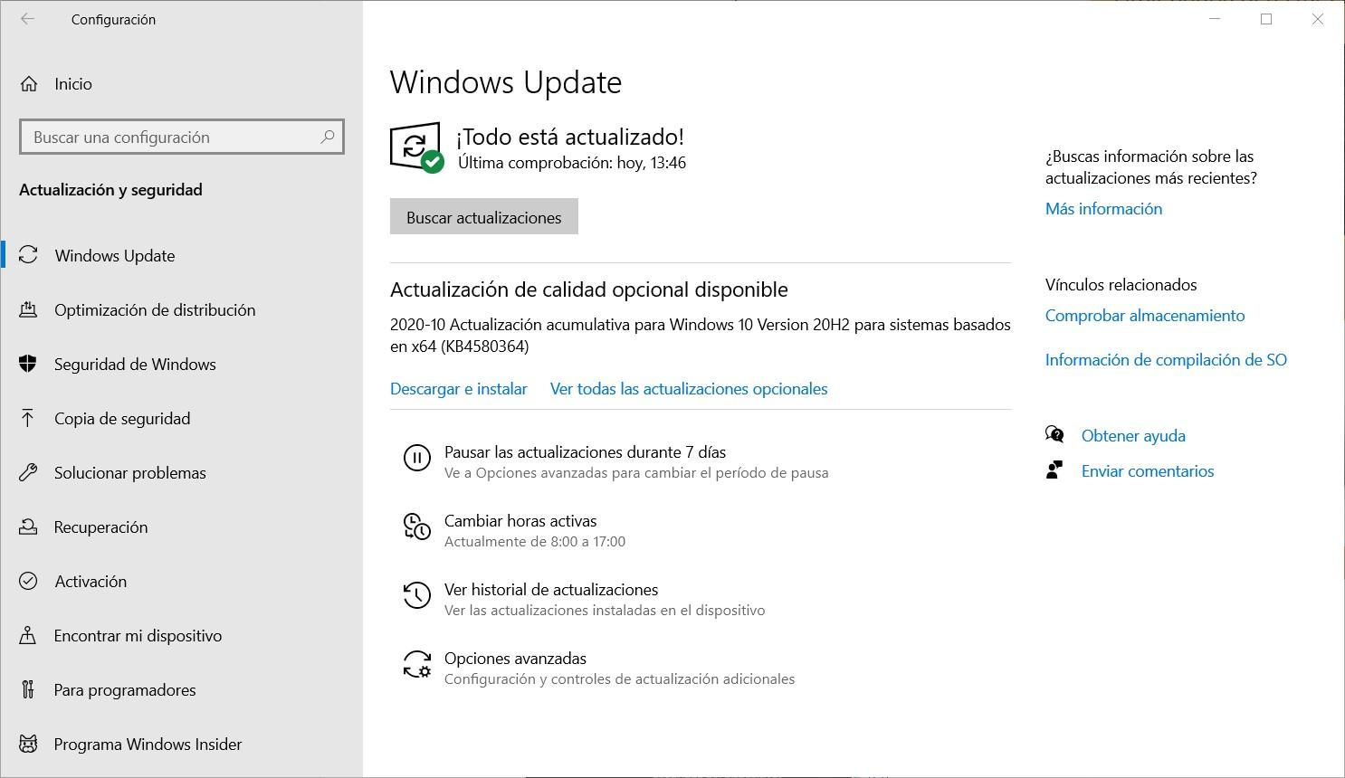 Actualice Windows 10 con Windows Update