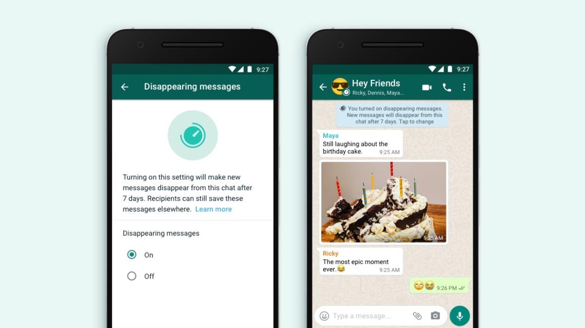 Mensajes de desaparición de WhatsApp