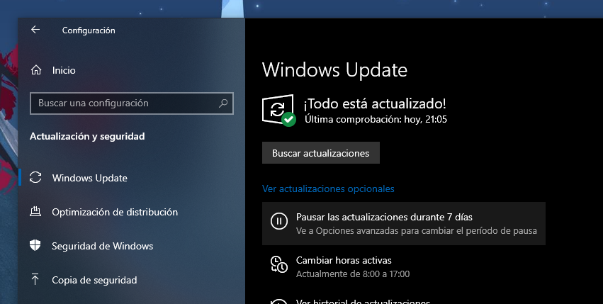 Verifique las actualizaciones de Windows Update