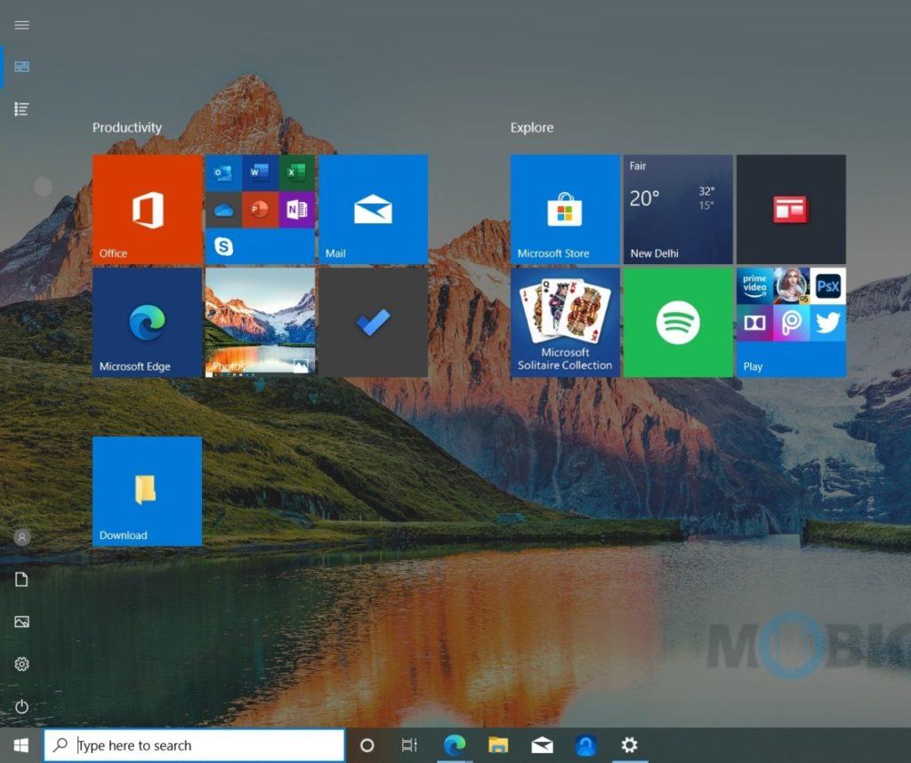 cómo deshabilitar el menú de inicio de pantalla completa en Windows 10-1024x858