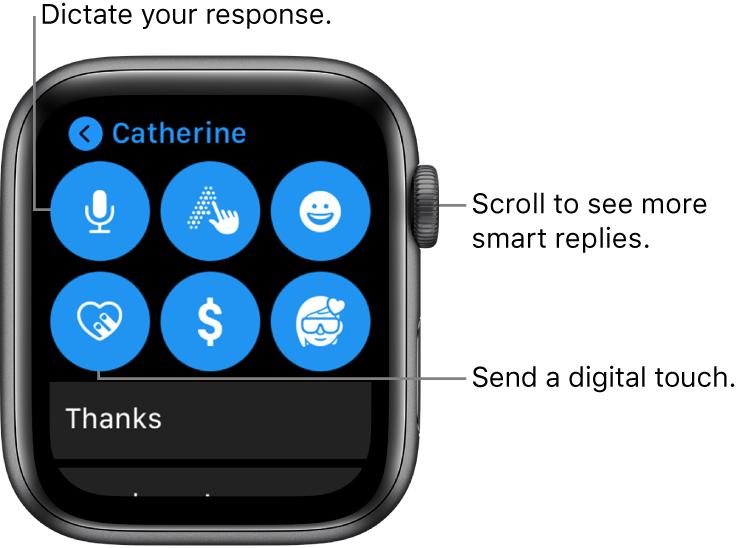 Cómo enviar o responder mensajes en Apple Watch-1