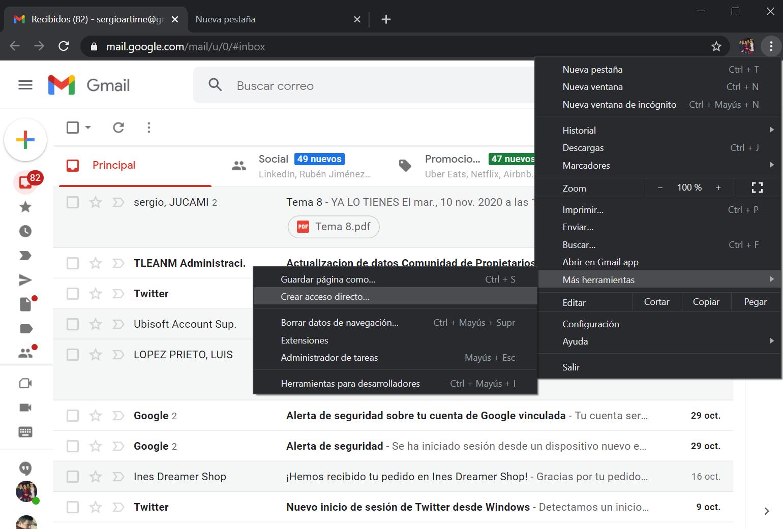 Instale Gmail como una aplicación de Chrome