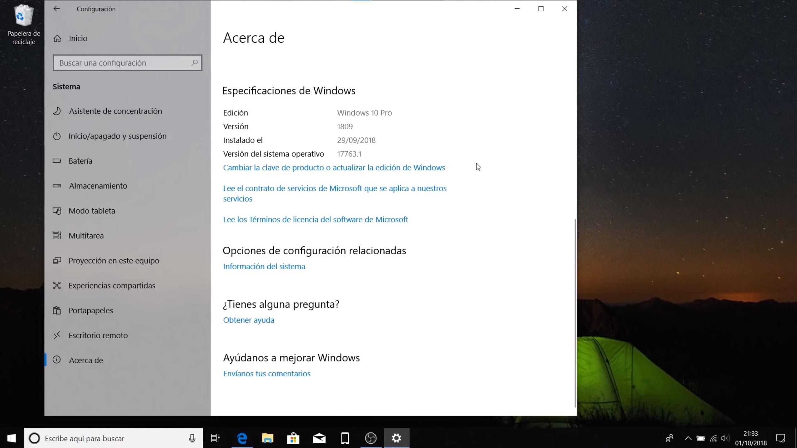 La aplicación de configuración dice que estamos usando la actualización de Windows 10 de octubre de 2018 (versión 1809)