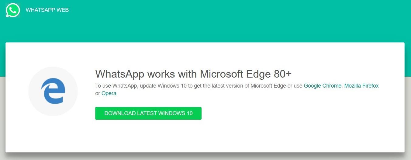 Mensaje de fin de compatibilidad web de WhatsApp con el antiguo Microsoft Edge