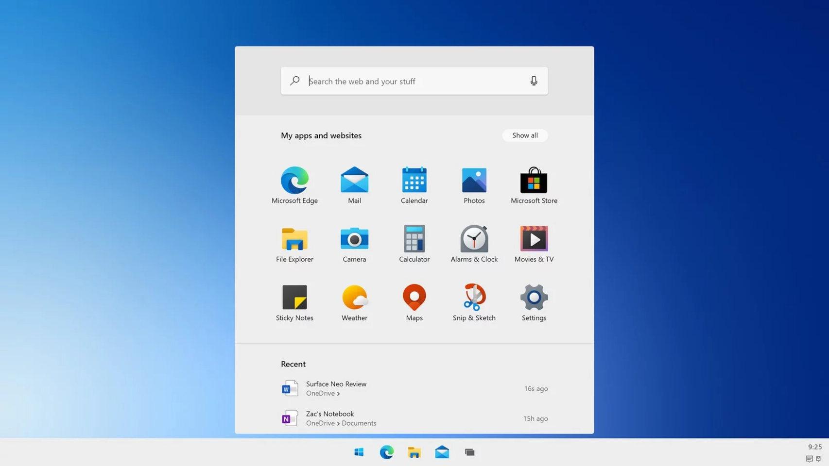 Lanzador de Windows 10X