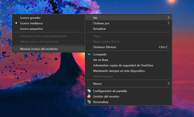 Mostrar iconos de escritorio en Windows 10