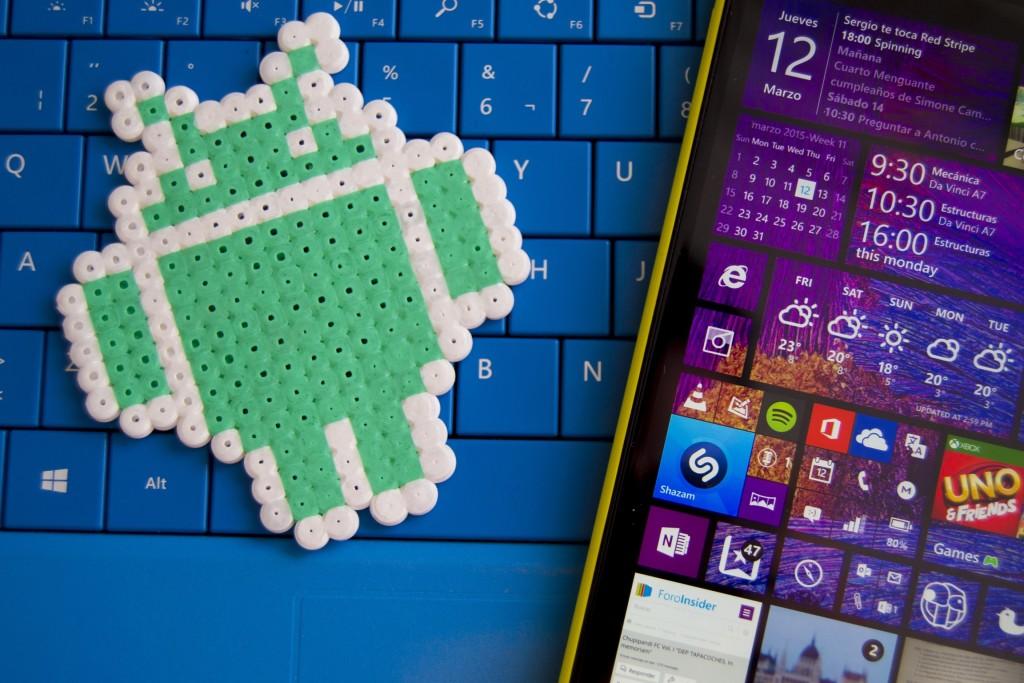 Windows Phone 8.1 y logotipo de Android