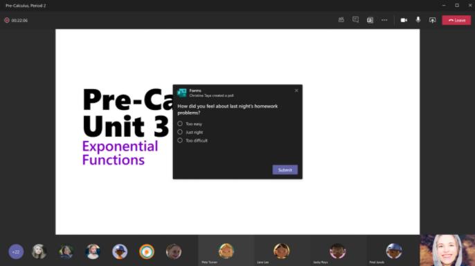 Encuesta de muestra en Microsoft Teams