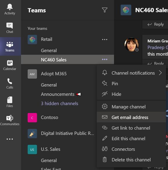 Compartir correos electrónicos en los canales de Teams