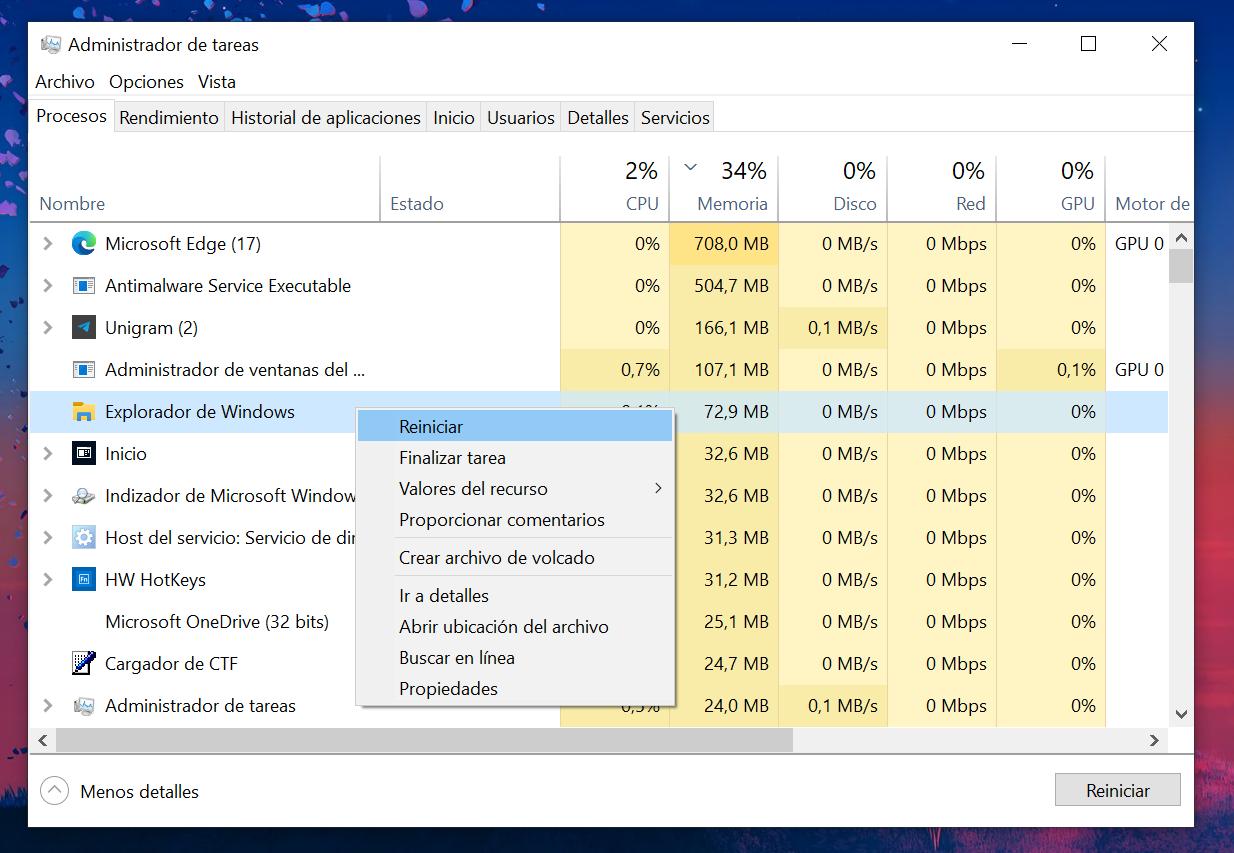 Pestaña Procesos del Administrador de tareas de Windows 10