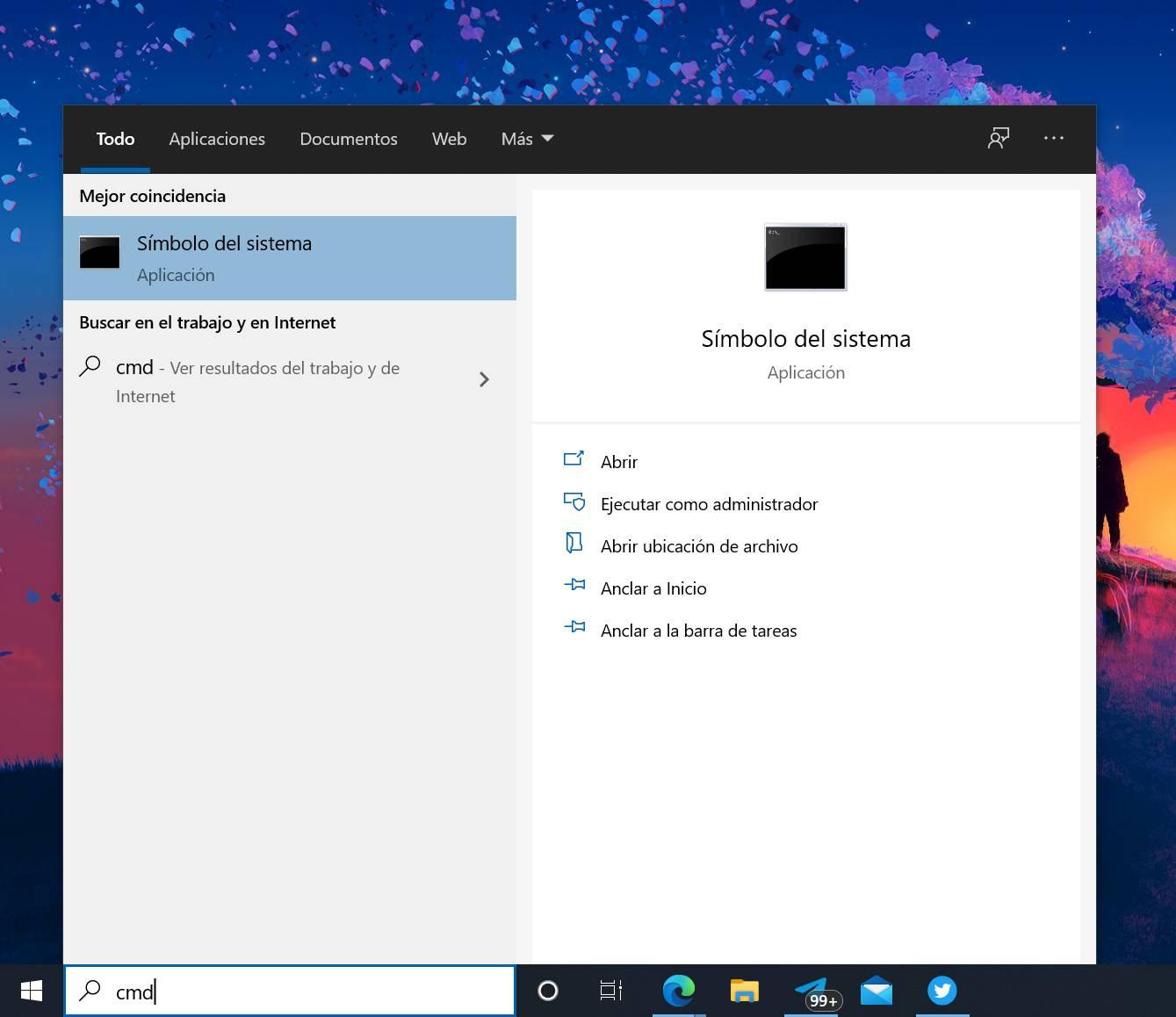 Símbolo del sistema en Windows 10