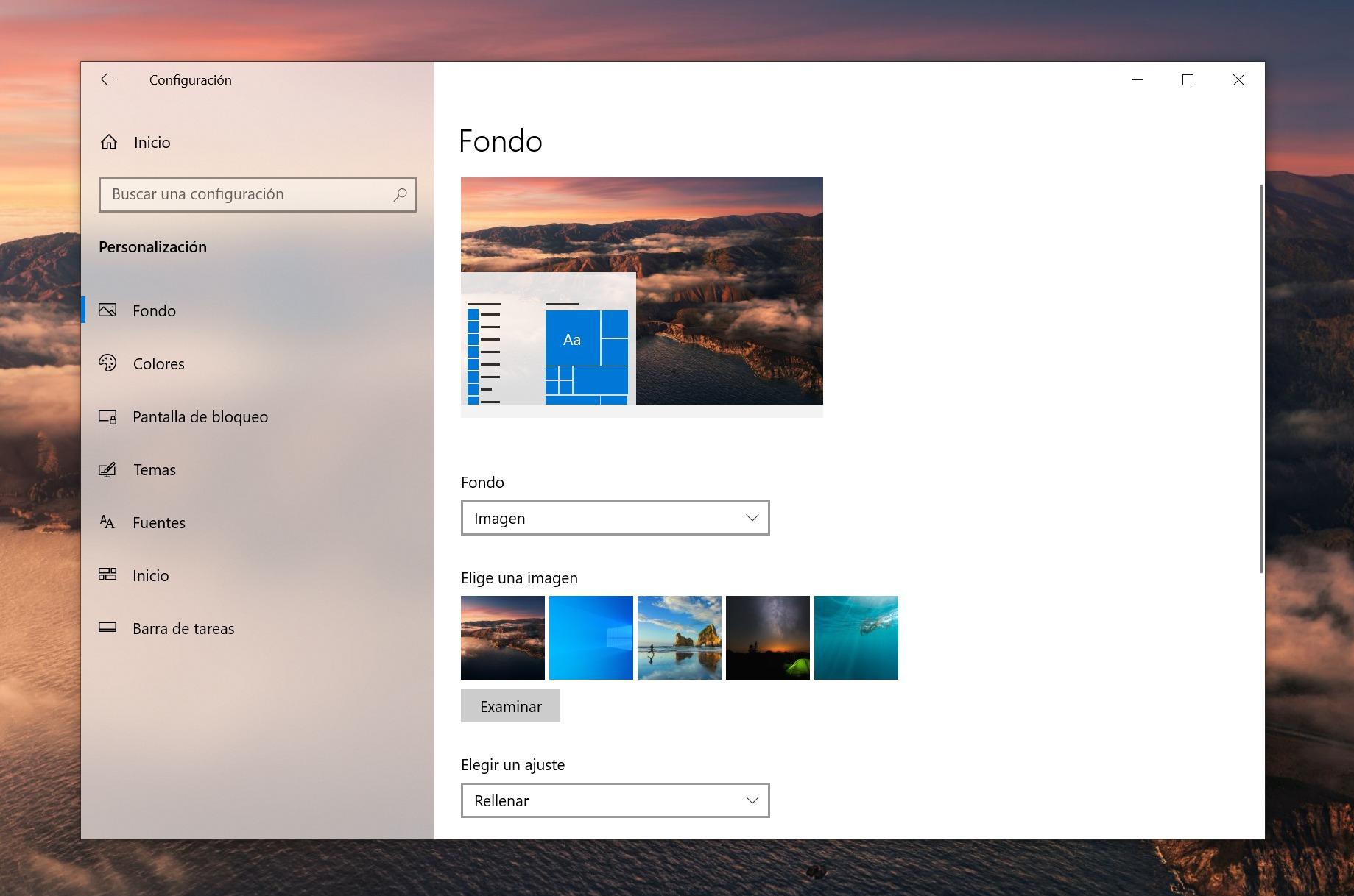 Sección de personalización de Windows 10