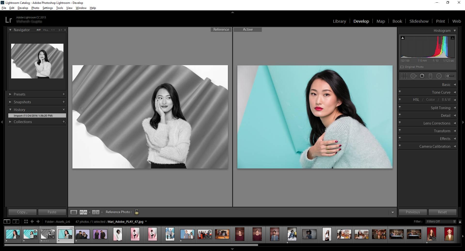 Edición de ejemplo en Adobe Lightroom
