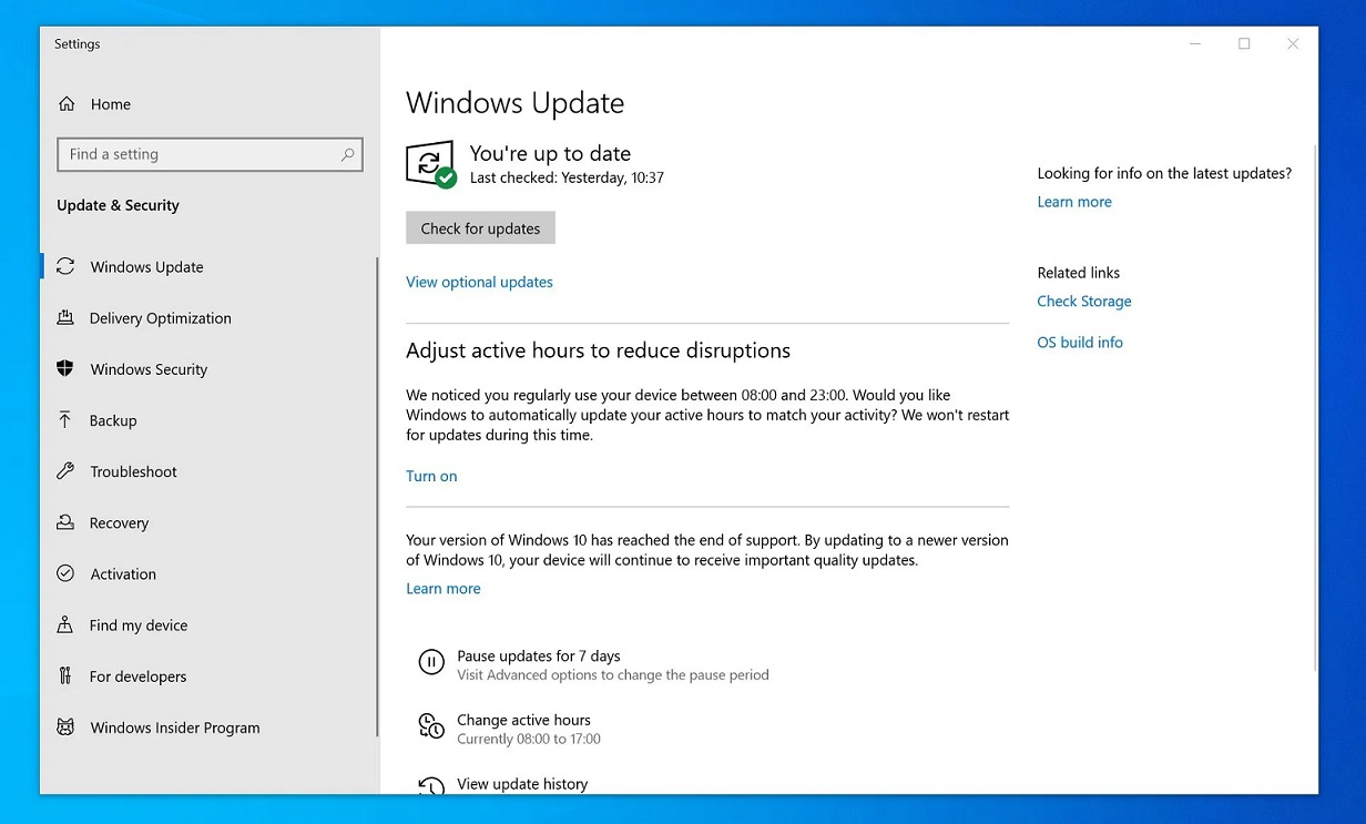 Actualización forzada de Windows 10