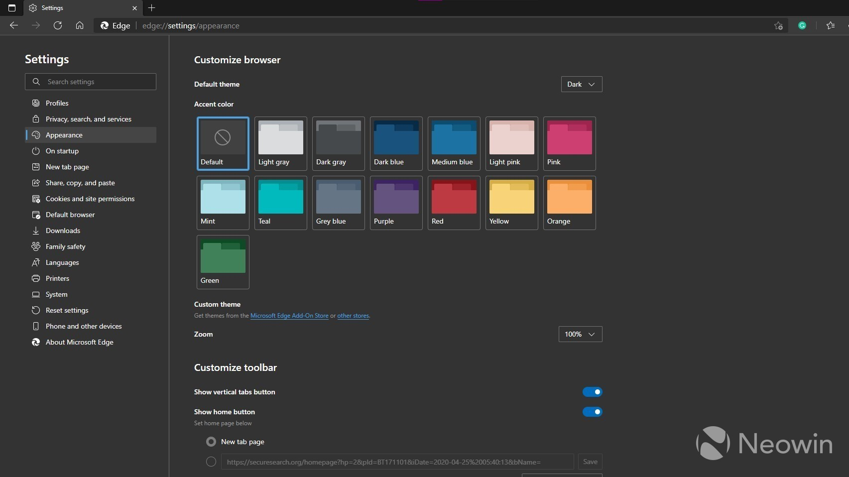 Selector de color de acento en Microsoft Edge