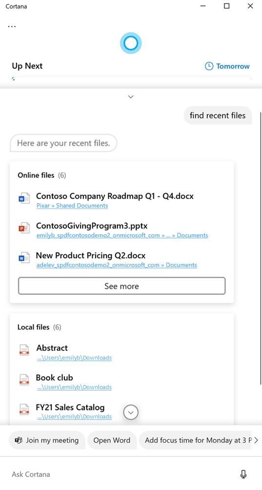 Cortana mostrando archivos en respuesta a una búsqueda de archivos reciente