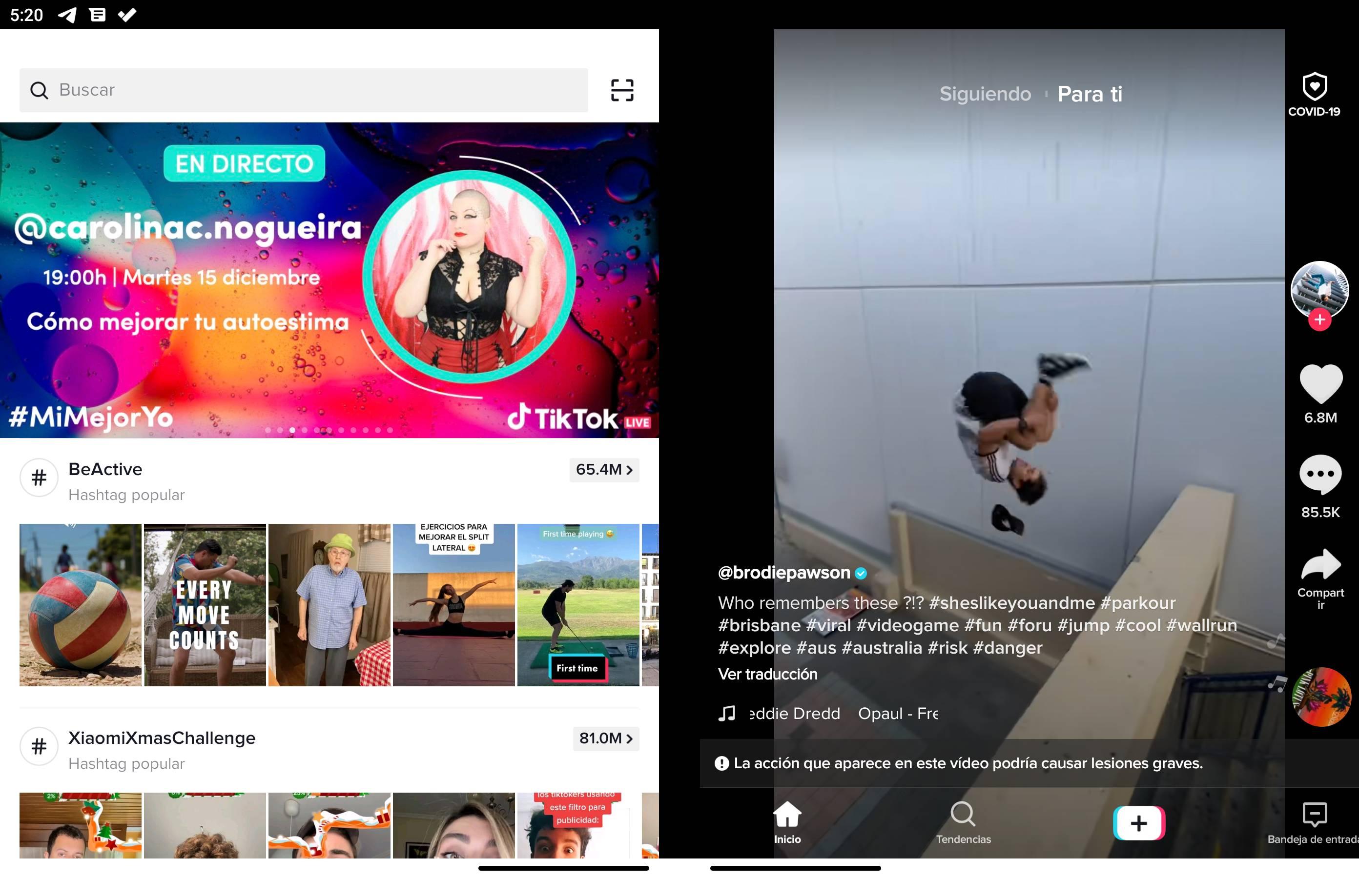 TikTok y Surface Duo