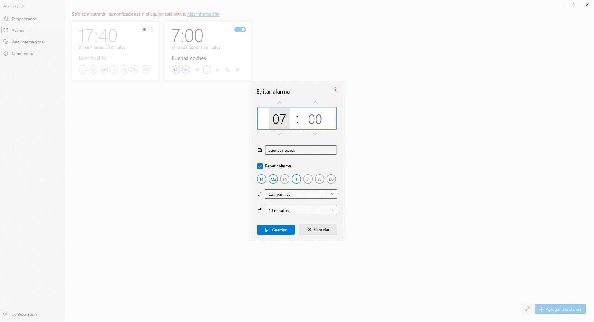 Nueva interfaz de configuración de alarmas de Windows