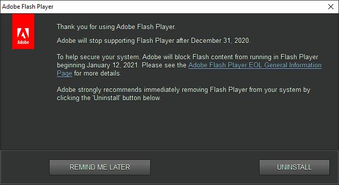Aviso de fin de soporte de Adobe Flash Player en Windows 10
