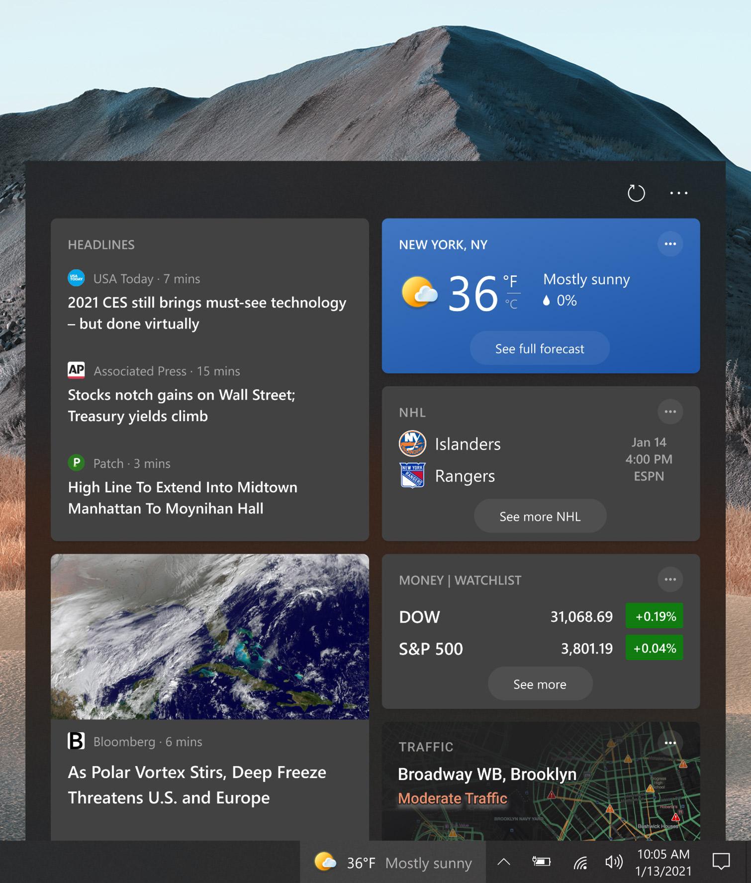 Widget de interés y noticias de Windows 10 de Sun Valley
