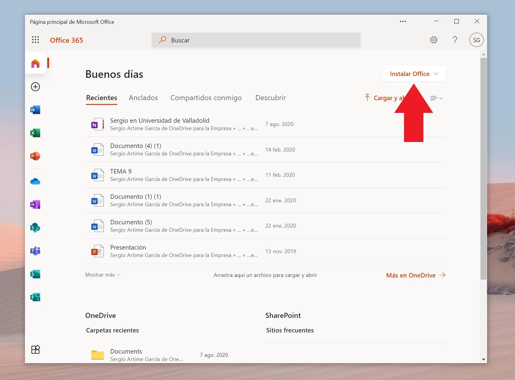 Sitio web de Office 365, desde el que podemos instalar Office de forma gratuita para centros educativos