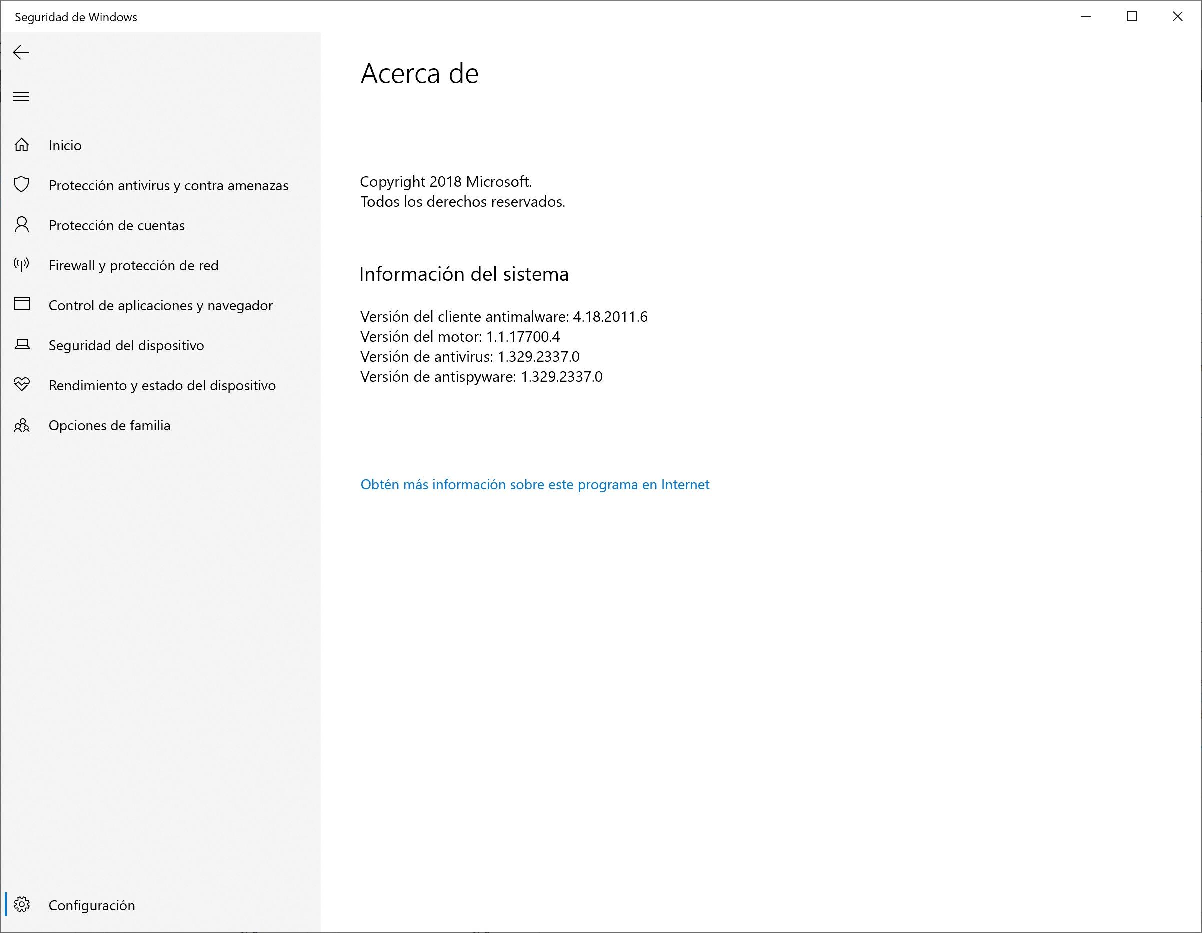 El panel de Microsoft Defender