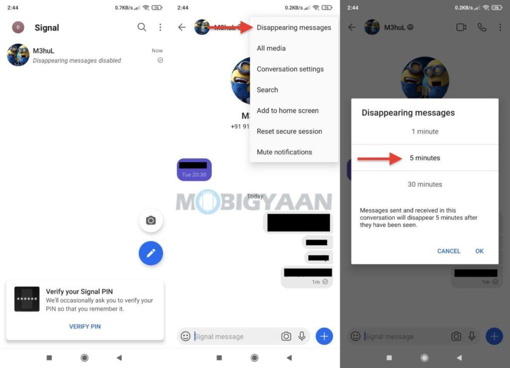 Cómo activar mensajes que desaparecen en la aplicación móvil Signal 1024x739