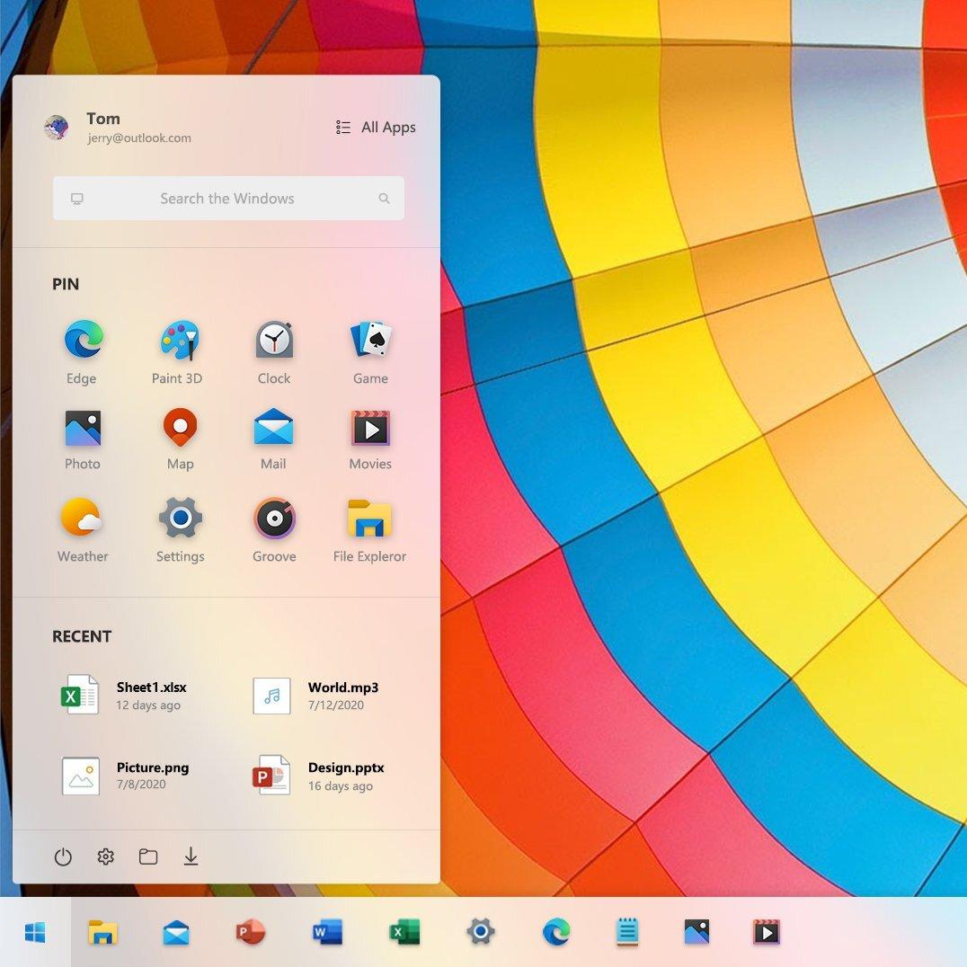 Maqueta del posible nuevo menú de inicio de Windows 10 Sun Valley