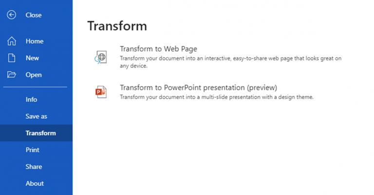 La nueva opción de transformación en Word