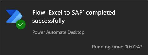 Notificación de Power Automate entre Excel y SAP