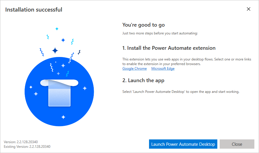Power Automate Desktop después de la instalación