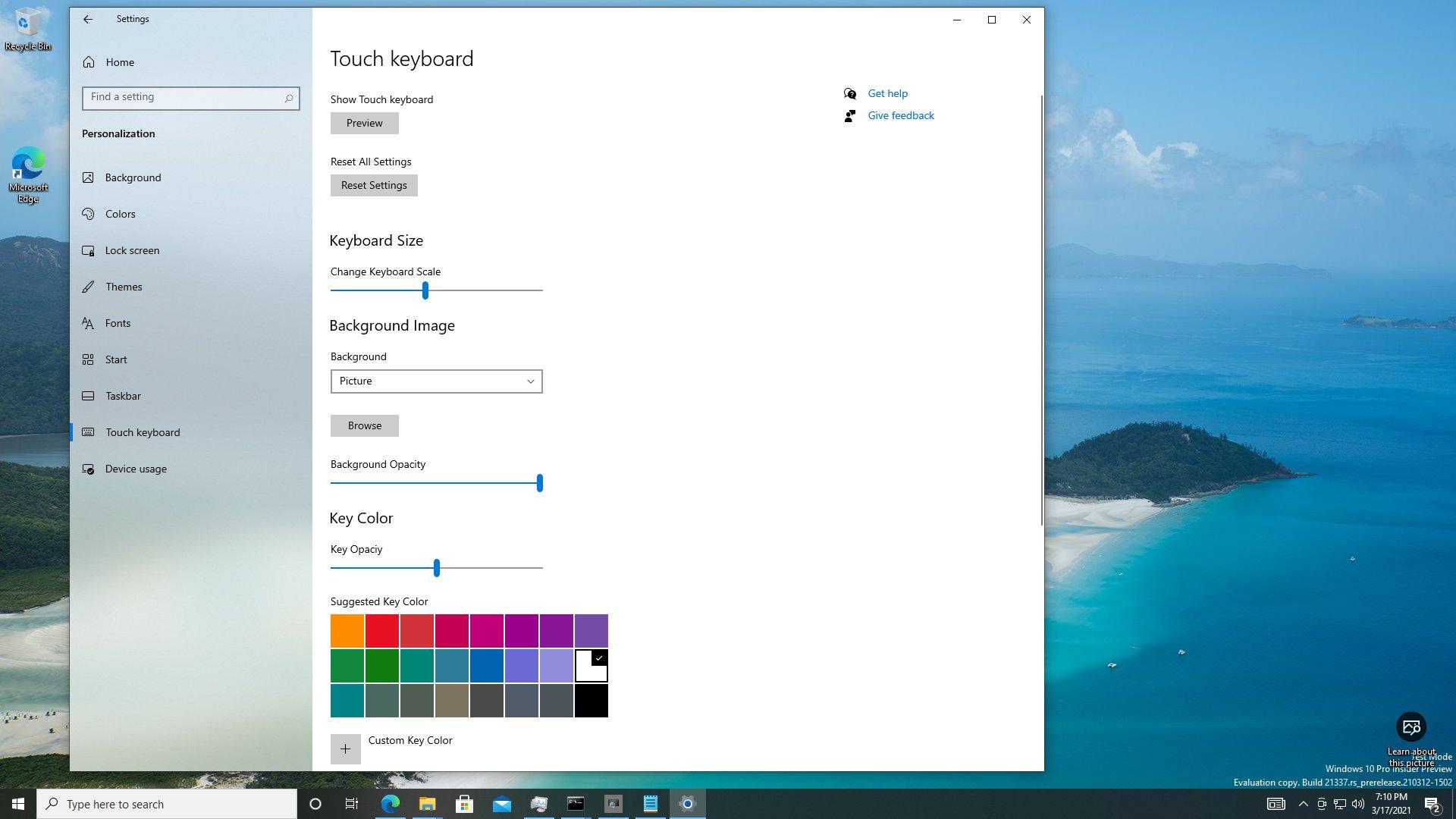 Personalización del nuevo teclado de pantalla táctil Sun Valley Windows 10