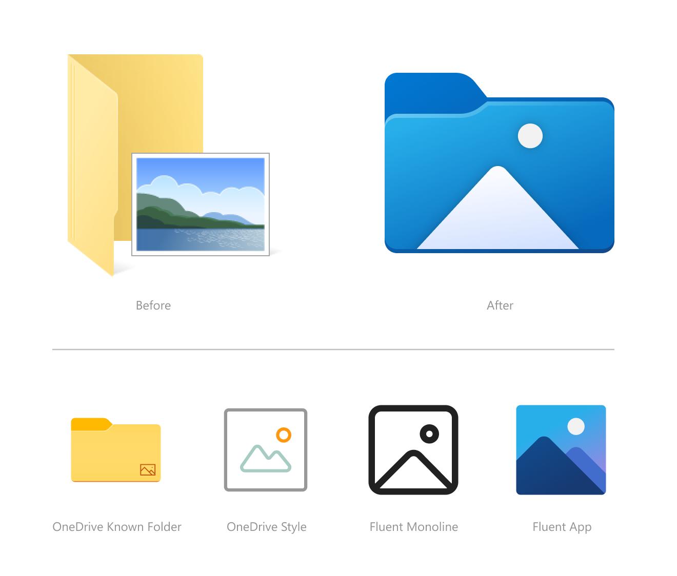 Nuevos iconos del Explorador de archivos en Sun Valley