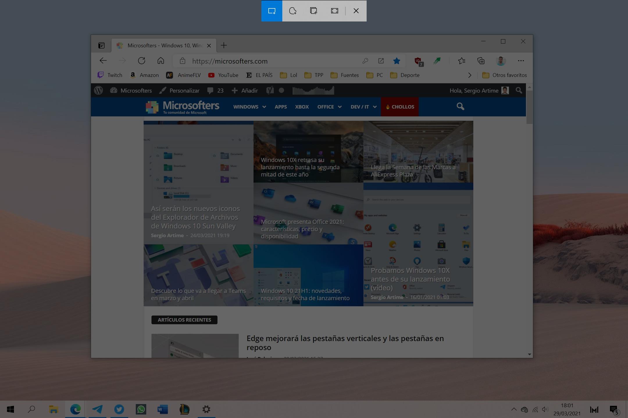 Captura y anotación de Windows 10