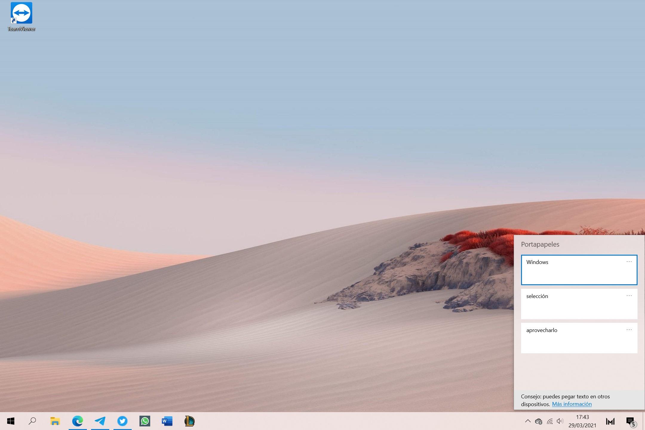 Historial del portapapeles de Windows 10