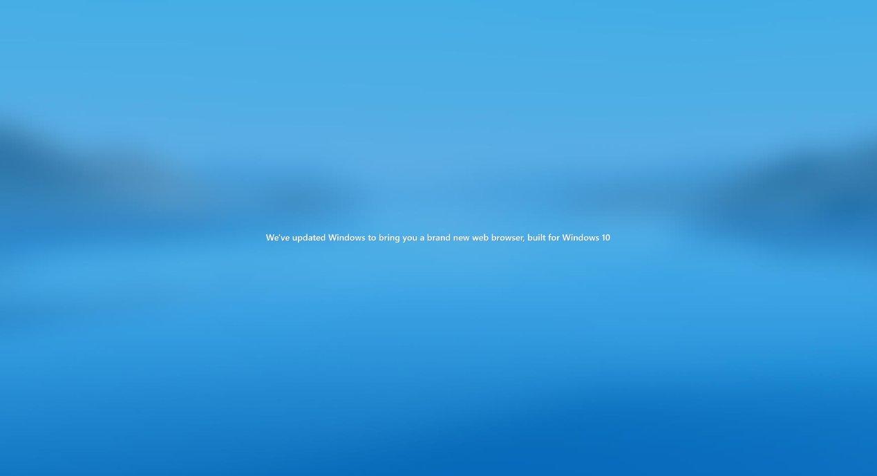 Pantalla de bienvenida de Microsoft Edge después de actualizar a Windows 10 20H2