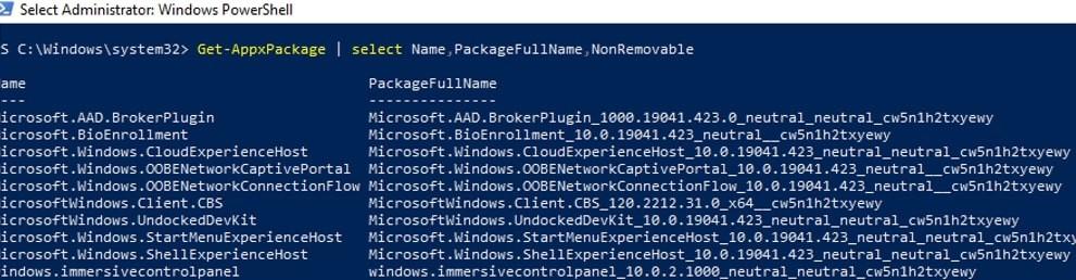Lista de aplicaciones de PowerShell