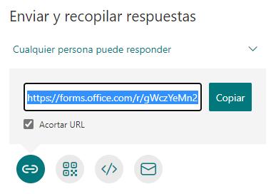 Opción de URL acortada en formularios