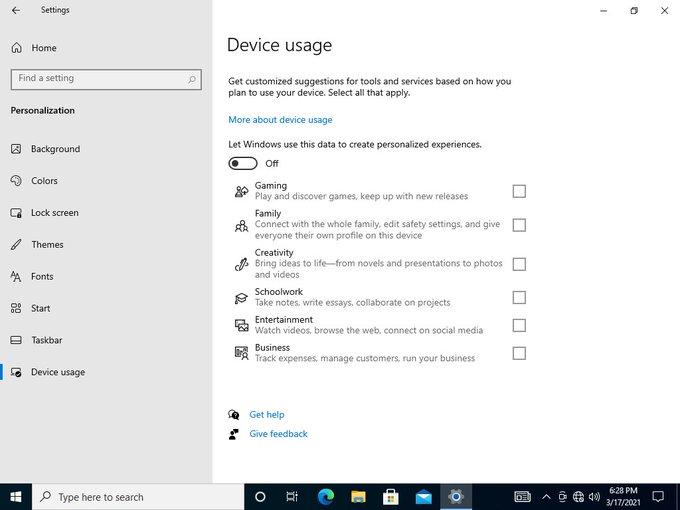 Personalización de la compilación de uso de dispositivos de Windows 10 21337
