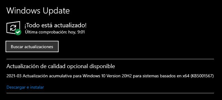 Actualización de Windows 10 KB5001567