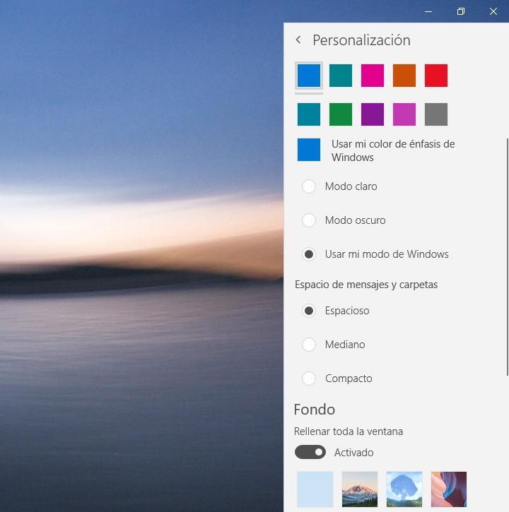 Personalizar la apariencia en Windows 10 Mail