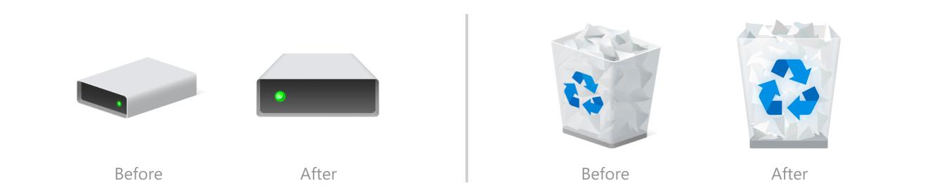 """Nuevos iconos """"Papelera"""" sí """"Dispositivos"""""""