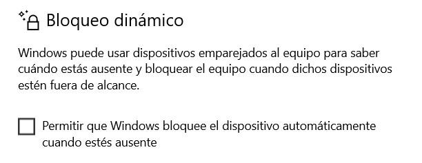 Bloqueo dinámico en Windows 10