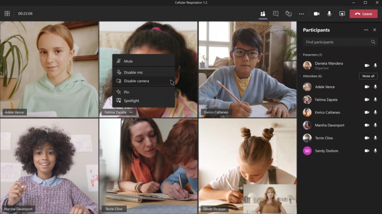 Opción para apagar la cámara en Microsoft Teams