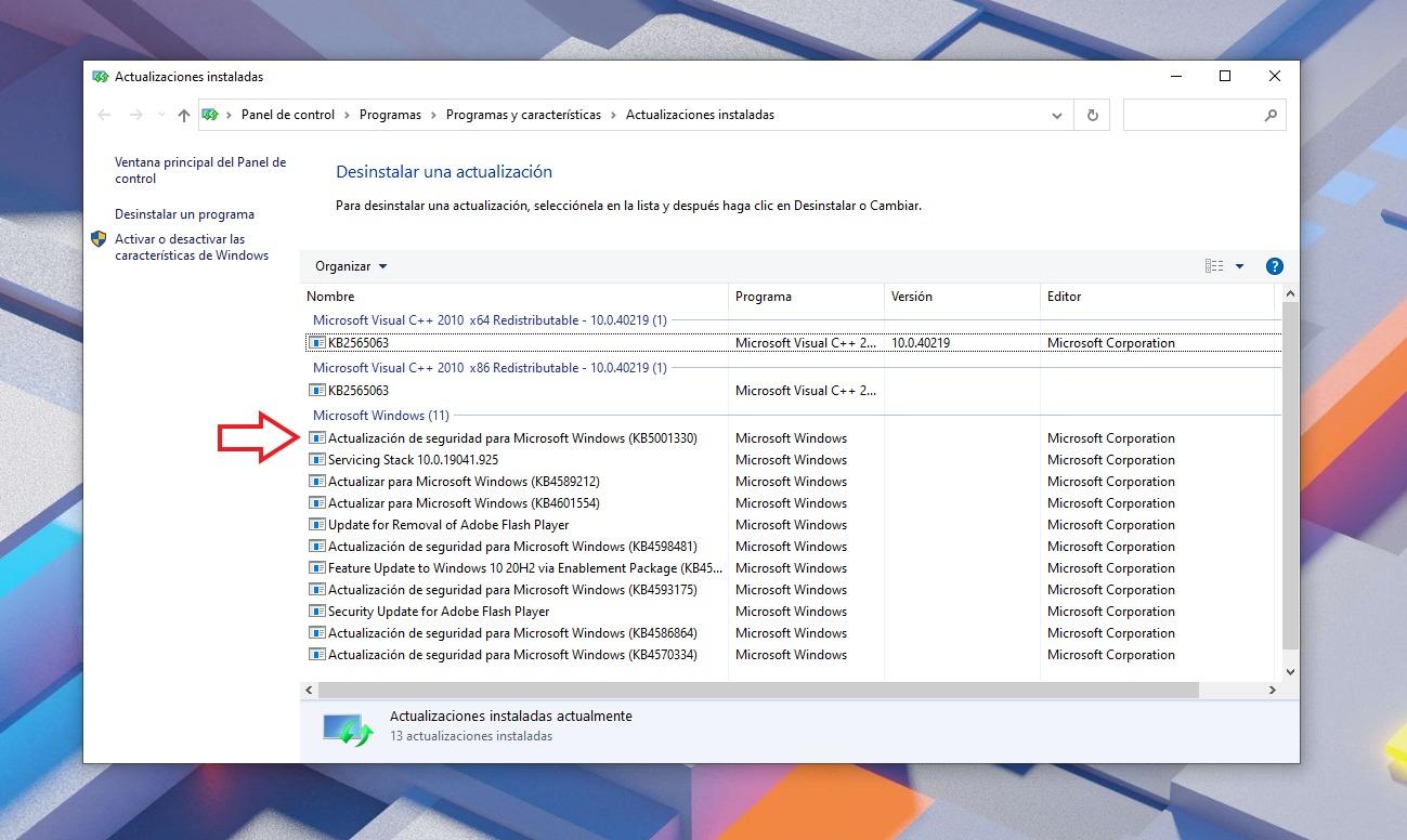 Desinstale la actualización KB5001330 de Windows Update