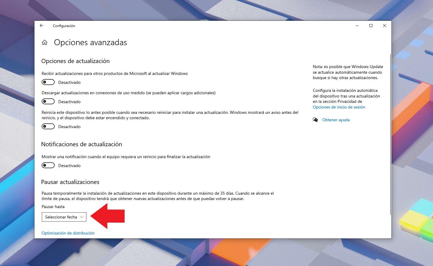 Pausar actualizaciones en Windows 10