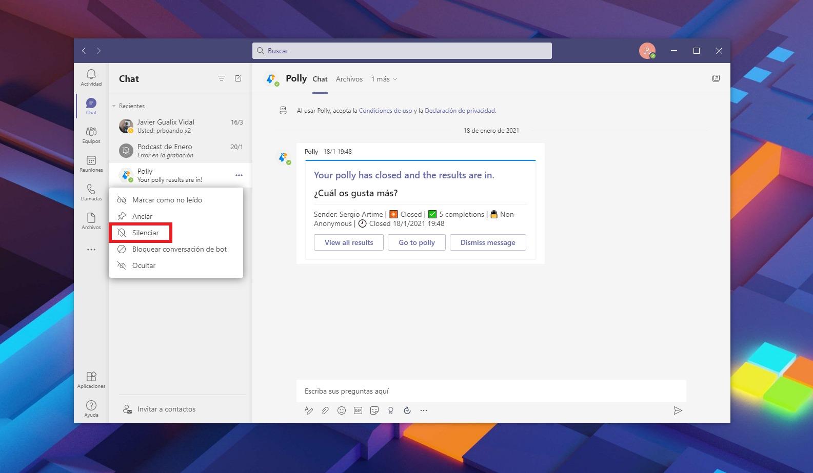 Silenciar un contacto en Microsoft Teams