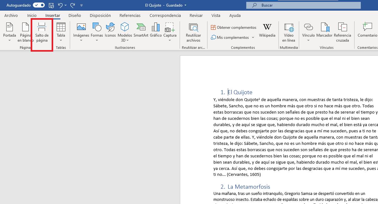 Insertar un salto de página en Word