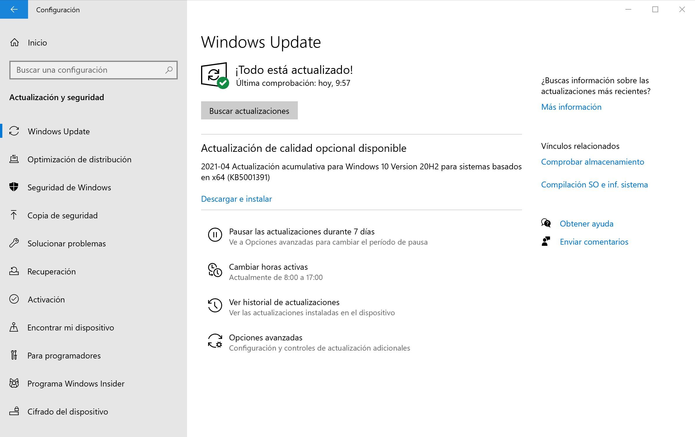 Descarga Windows 10 21H1