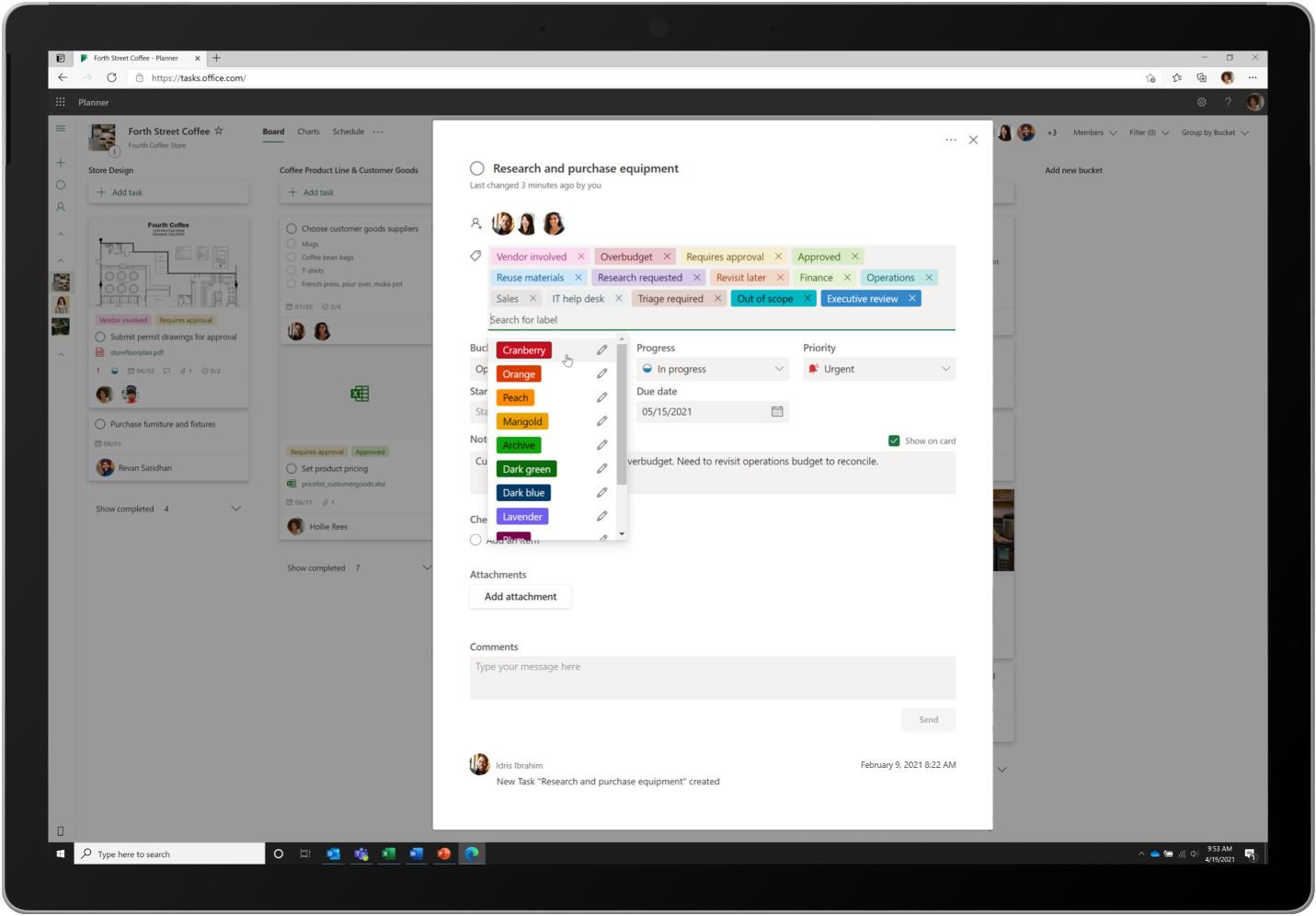 Listas del planificador de Microsoft 365